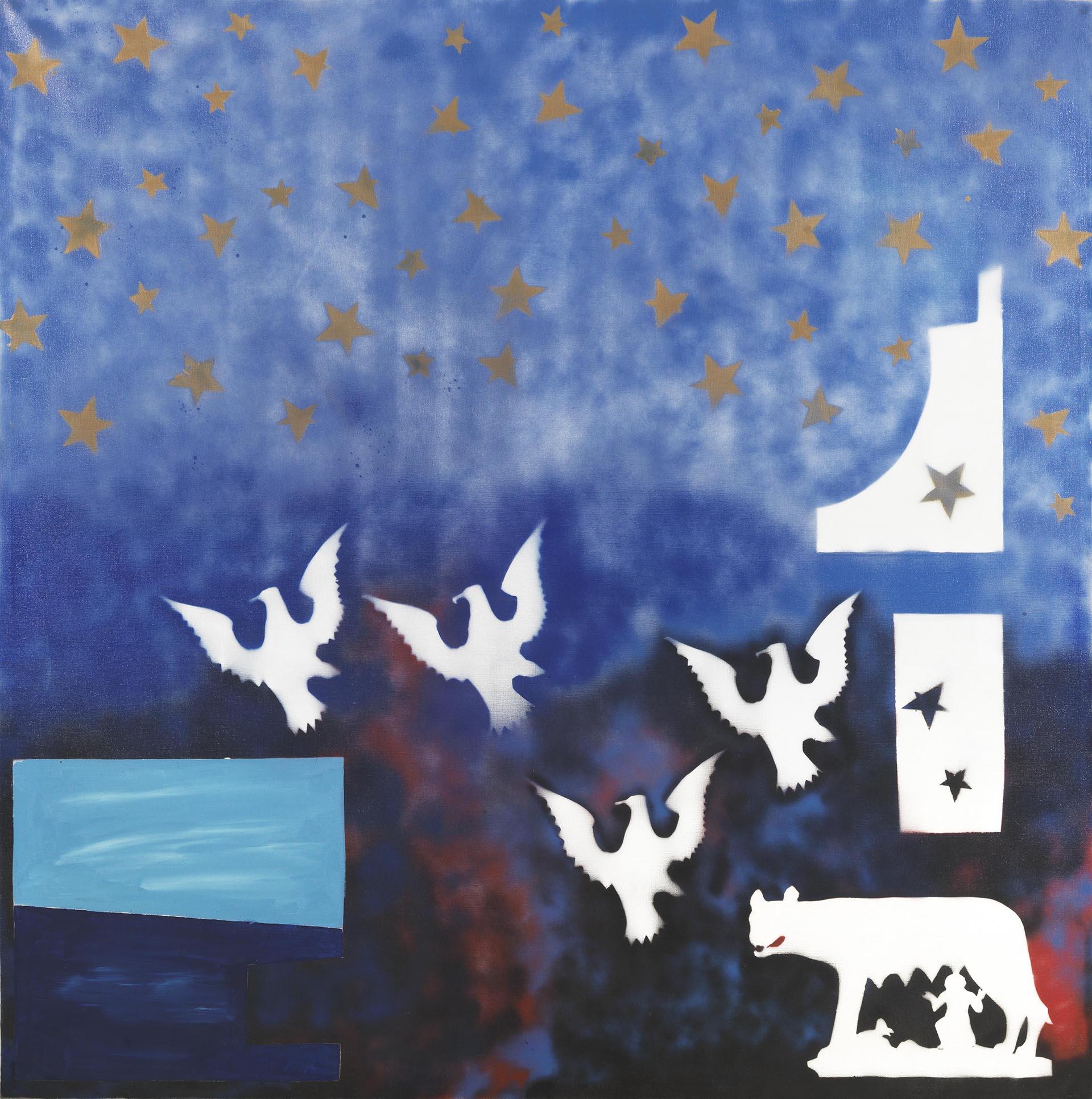 Angeli, Simboli con intervento di paesaggio marino, 1975, 200x200 cm