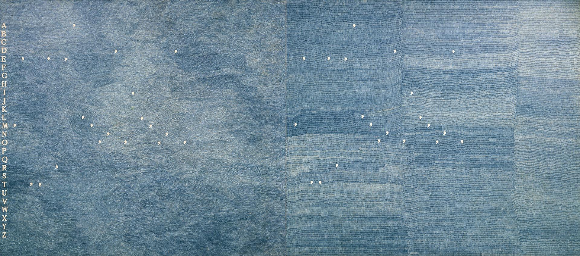 Boetti, Mettere al mondo il mondo, 1975, 160x347 cm