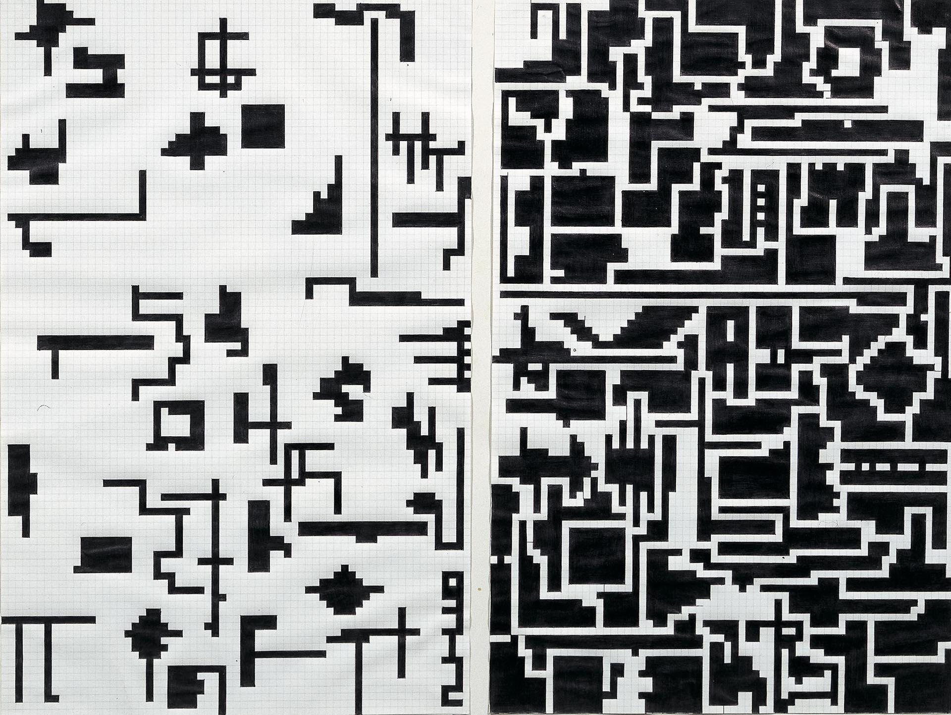 Boetti, Storia naturale della moltiplicazione, 1974-75, 70x100 cm