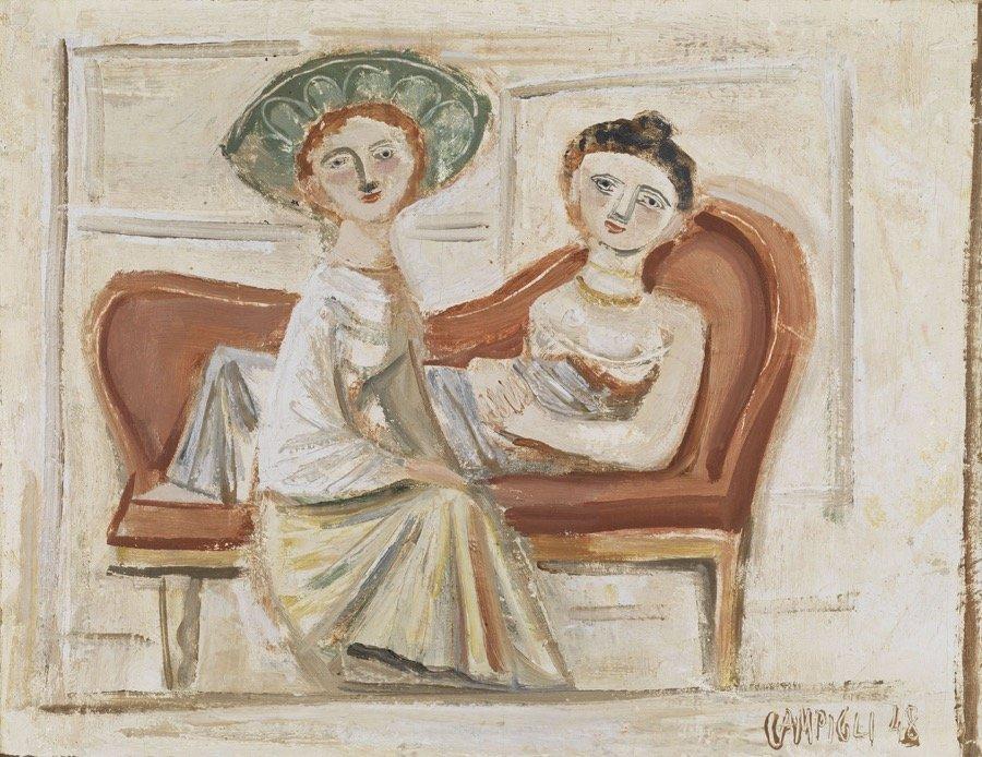 Campigli, Due amiche, 1948, 30,5x39,5 cm