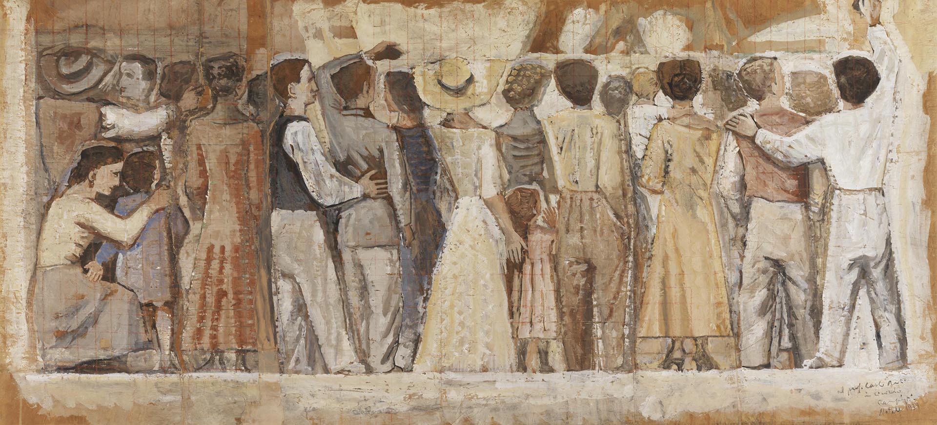 Campigli_Bozzetto-per-l_affresco-del-Liviano-Università-di-Padova_1938_65x141-cm