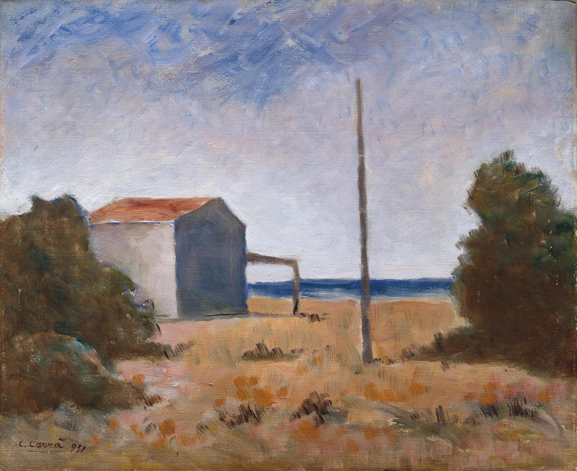 Carrà, Marina con palo, 1951, 50x60 cm