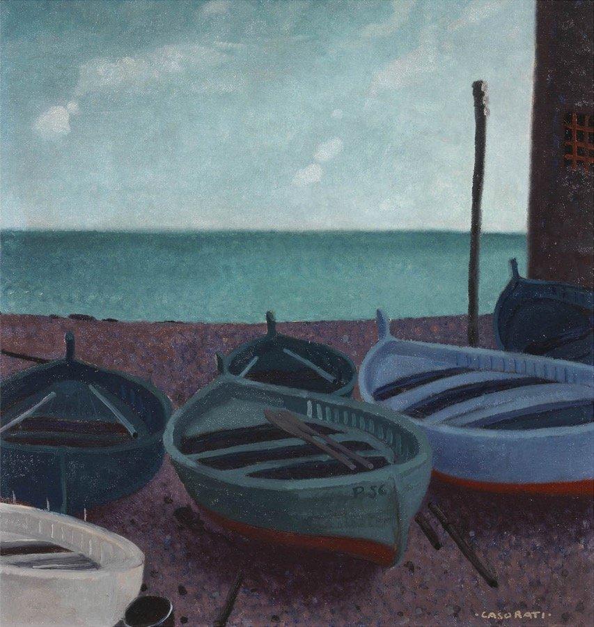 Casorati, Barche sulla spiaggia, 1930-32, 64x60 cm