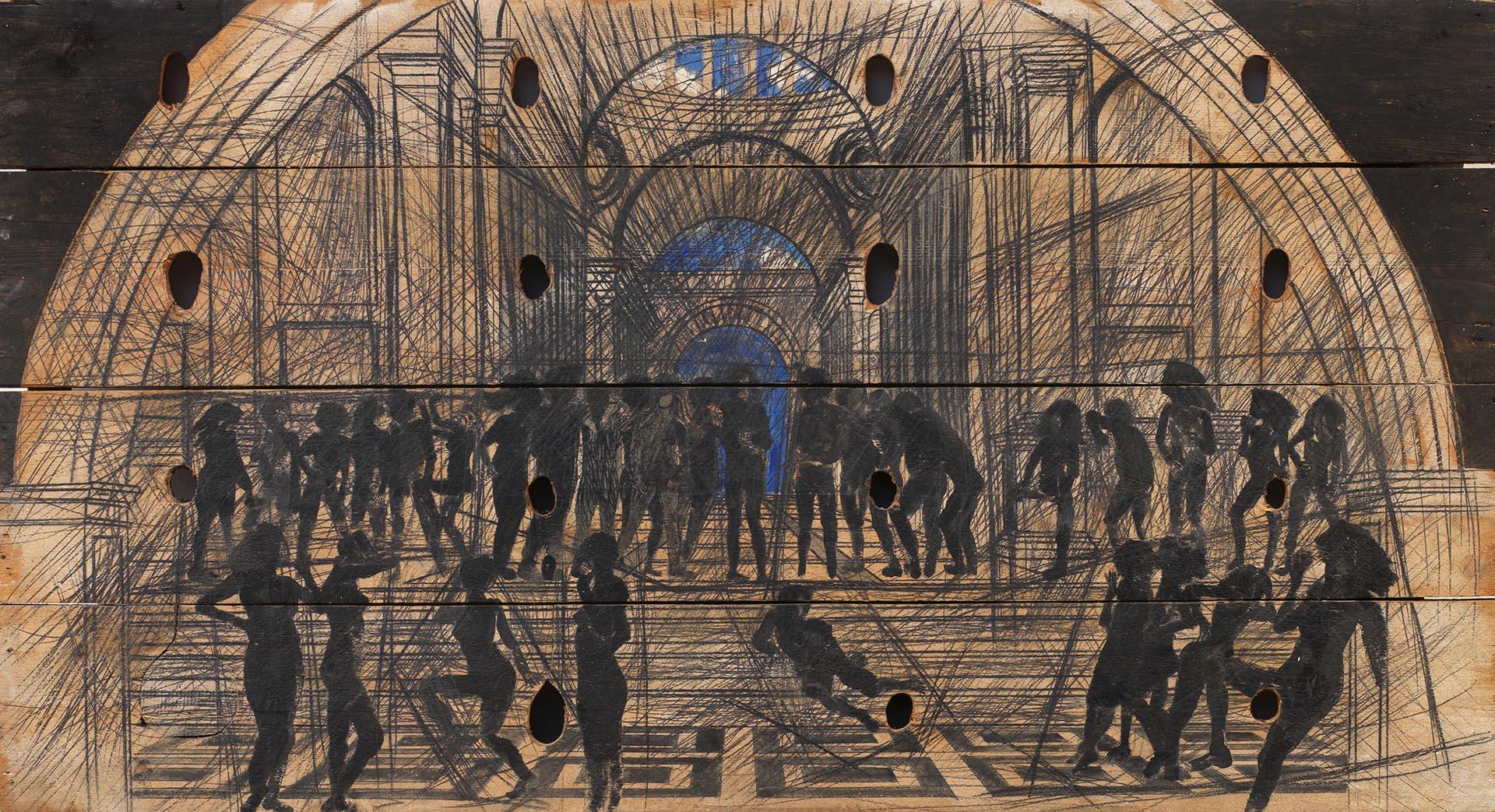 Ceroli, La scuola di Atene, 1981, 117x216x5 cm