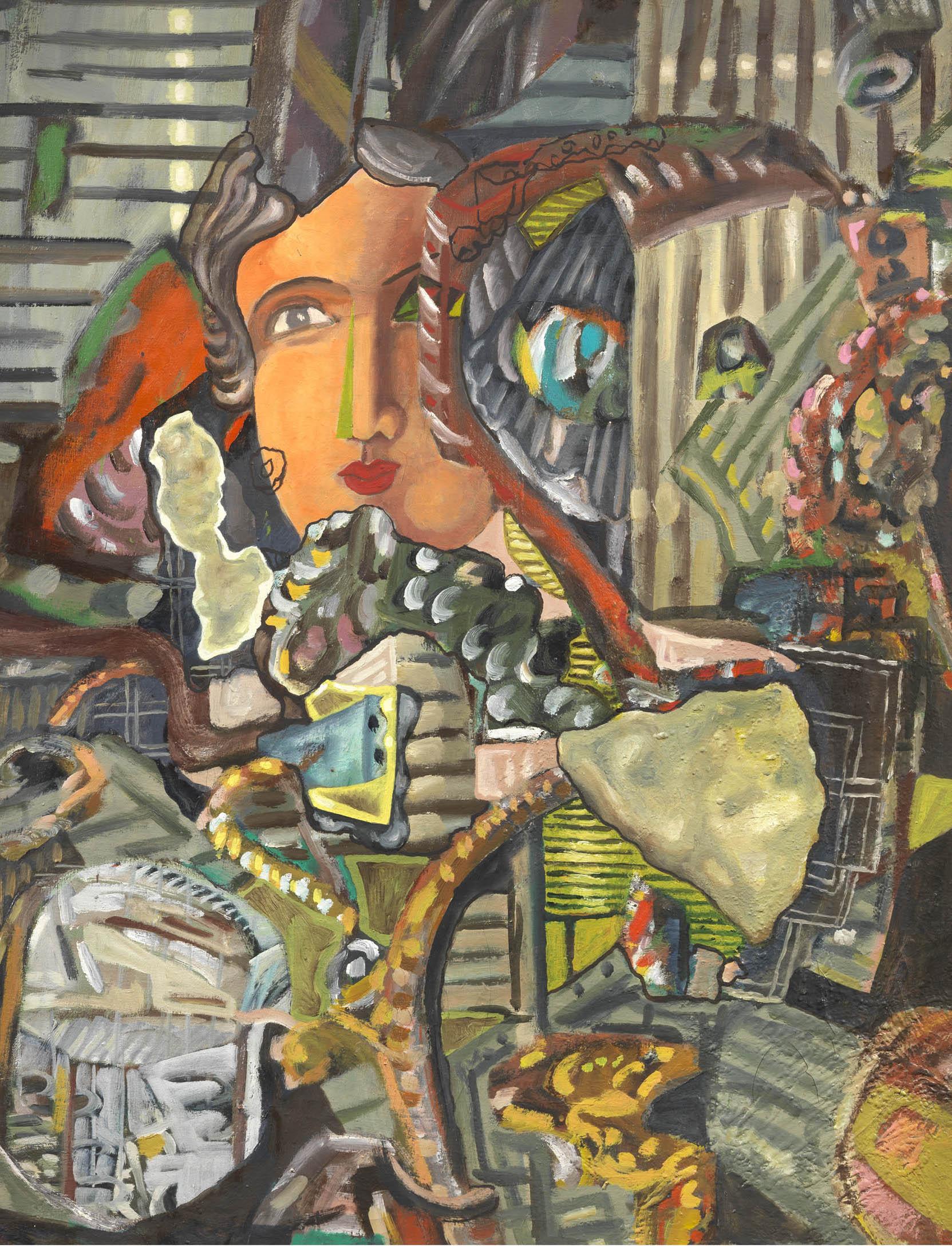 Chia, Viso e composizione, 1988, 128x98 cm