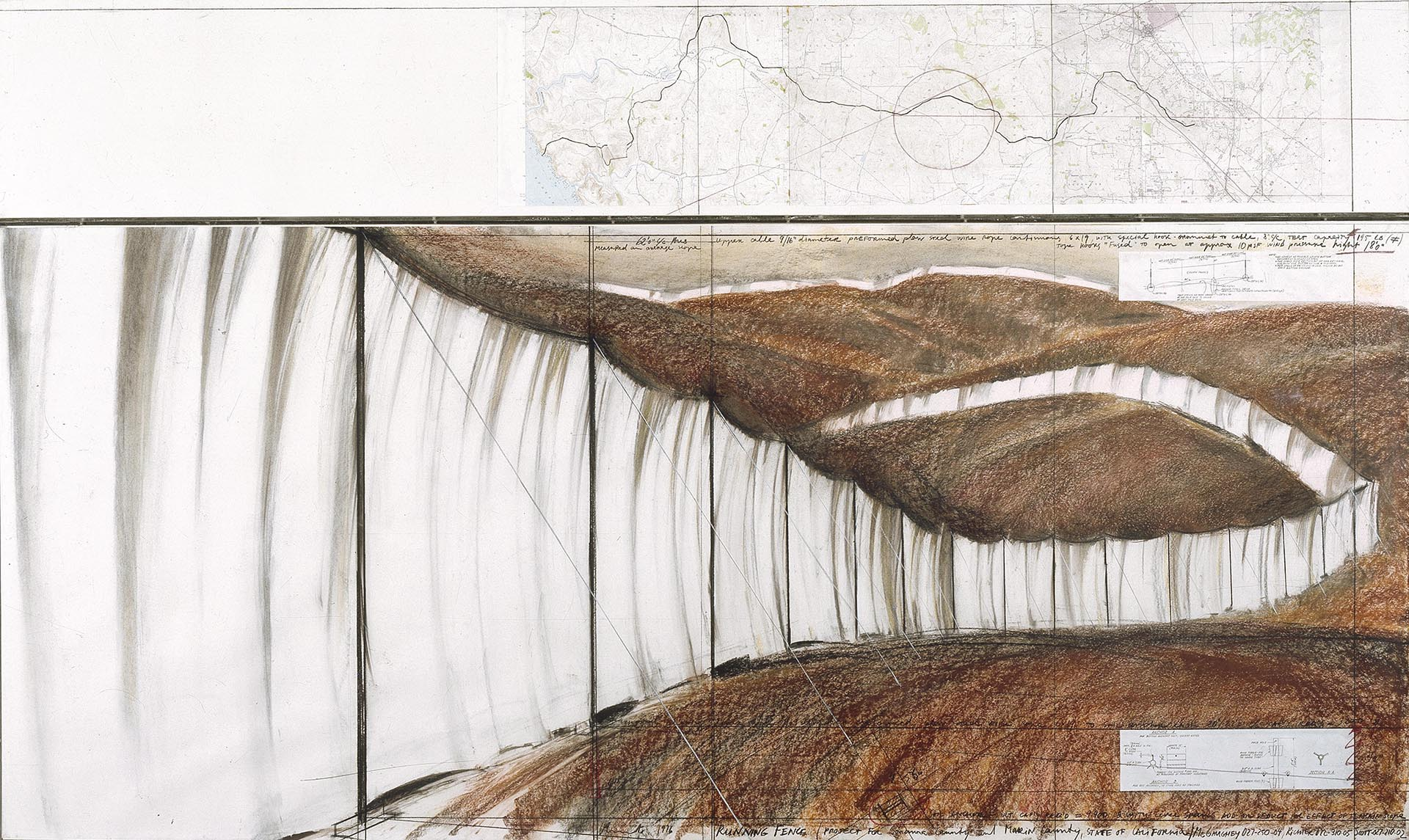 Christo, Running Fence Project for Sonoma County and Marin County, 1976, 147x245 cm