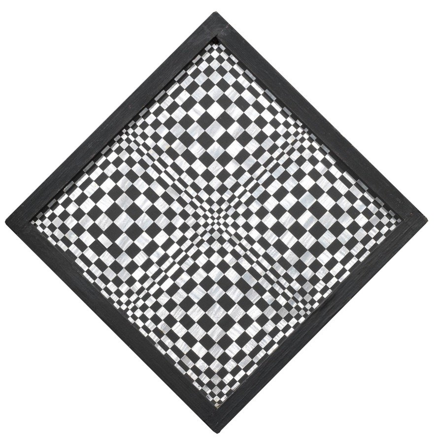 Dadamaino, Oggetto ottico dinamico indeterminato, 1963-65, diag. 50x50 cm
