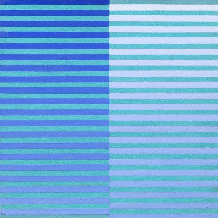 Dadamaino, Ricerca del colore. Blu su celeste, 1966-68, 20x20 cm