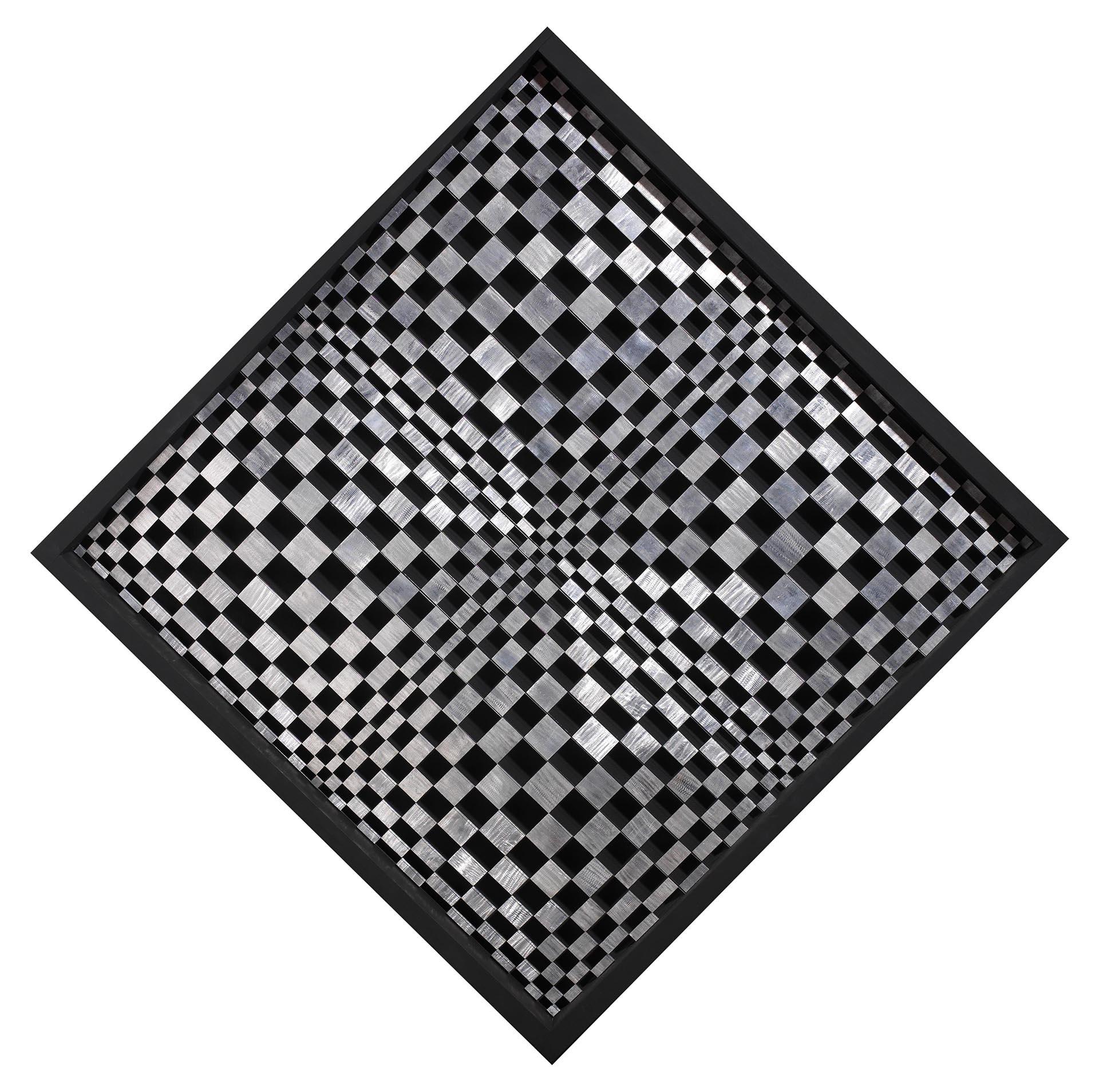 Dadamaino, Oggetto ottico-dinamico, 1962-71, 106x106 cm