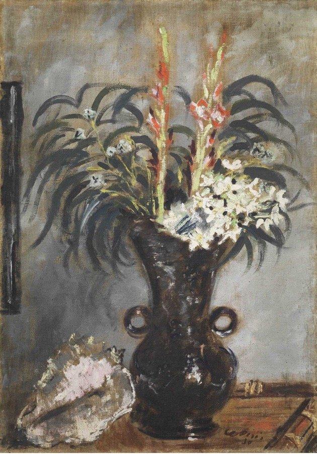 De Pisis, Vaso con gladioli e conchiglia, 1930, 92x64,5 cm