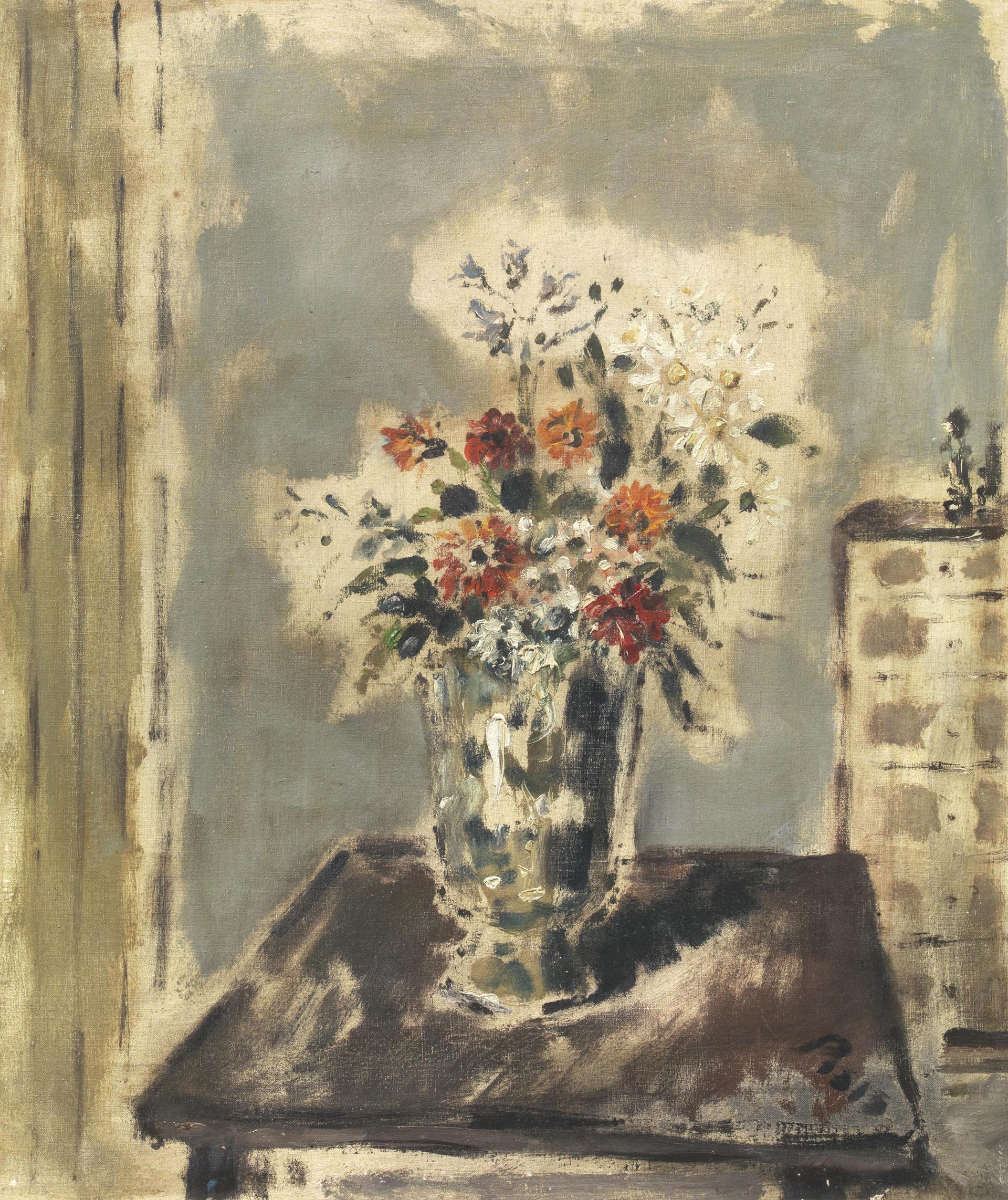 De Pisis, Vaso di fiori in un interno, 1945 ca, 60x50 cm