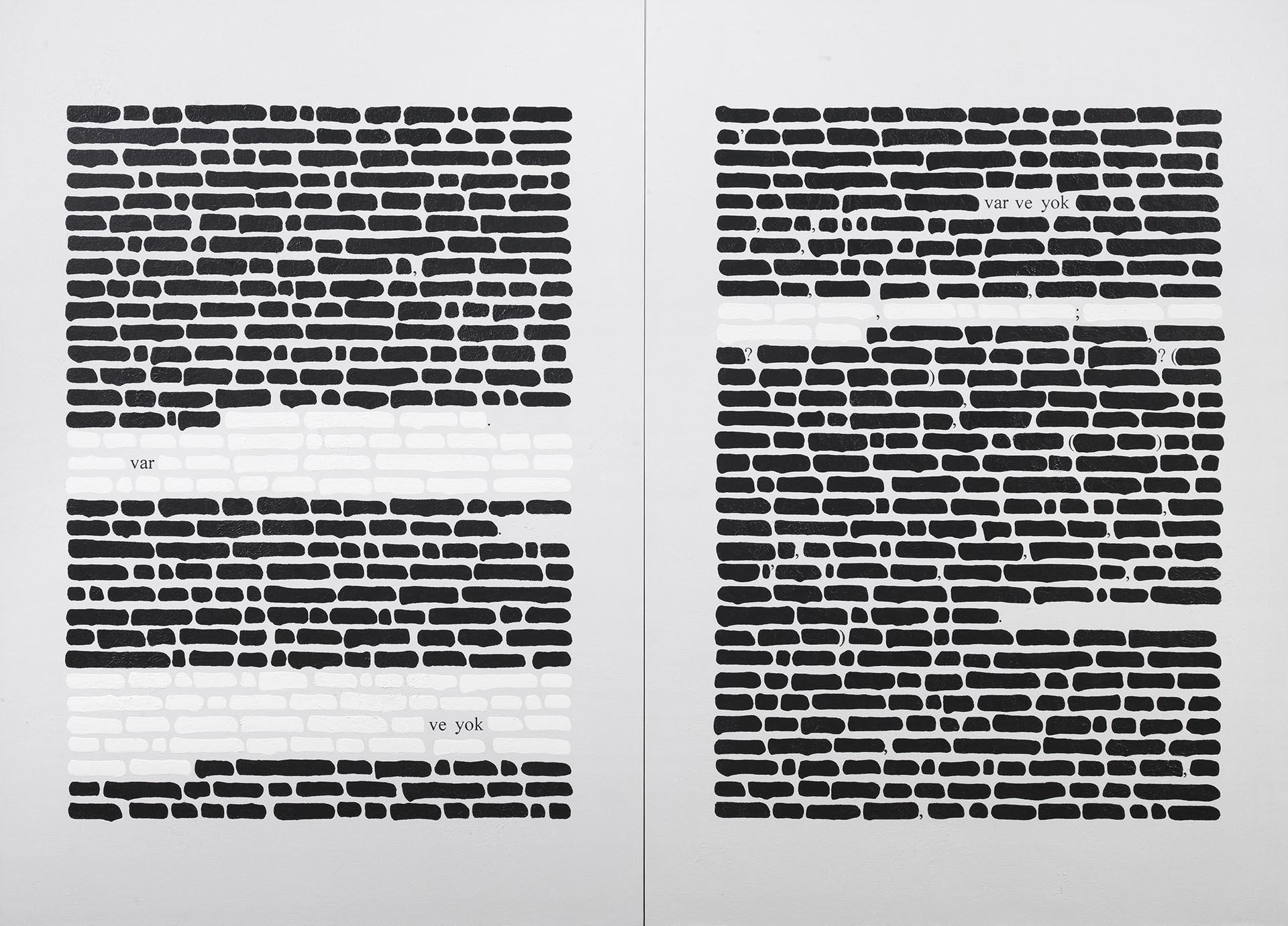 Isgrò, Var ve yok anonimo, 2010-12, 160x220 cm