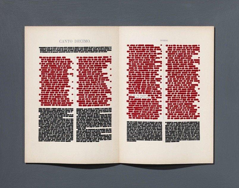 Isgrò, Libro rosso per la Divina Commedia, 2018, 55x70 cm