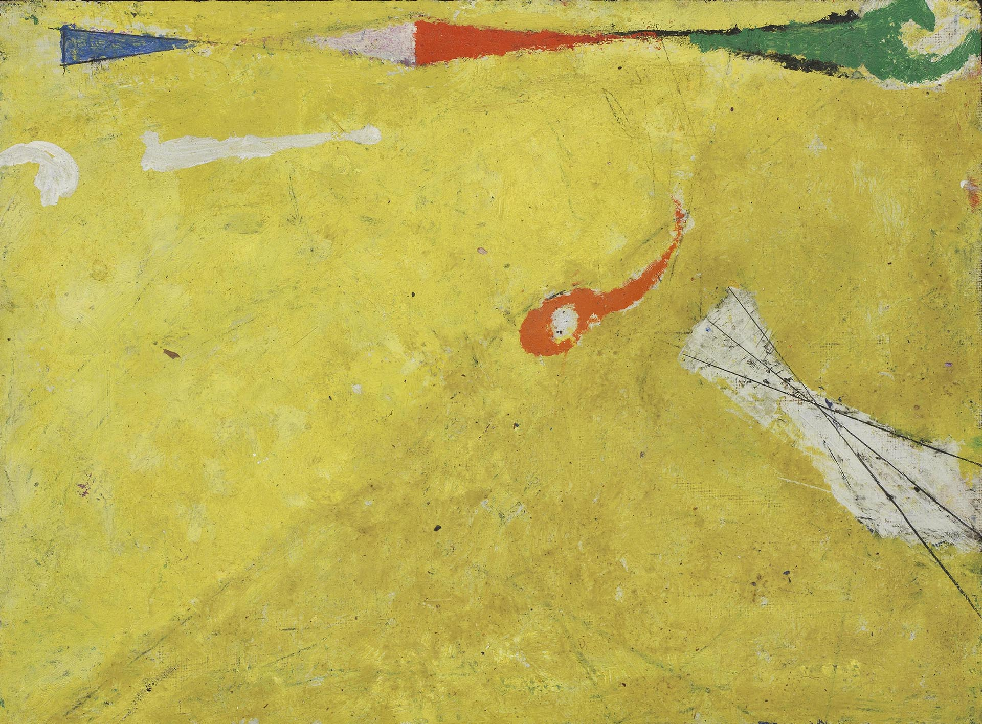 Licini, Missile su fondo giallo, 1954, 27.3x36 cm