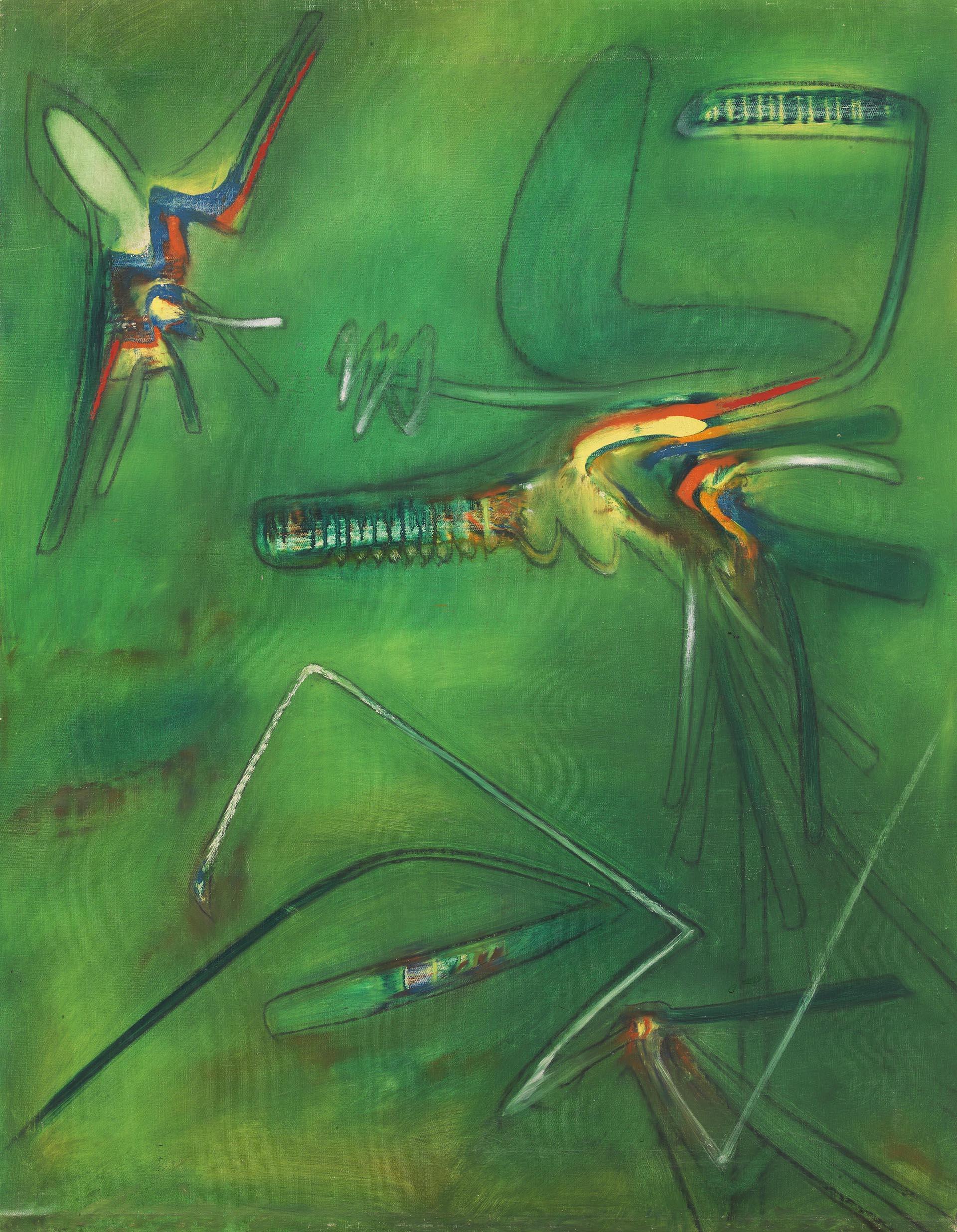 Matta, Composition sur fond vert, 1956, 102x80 cm