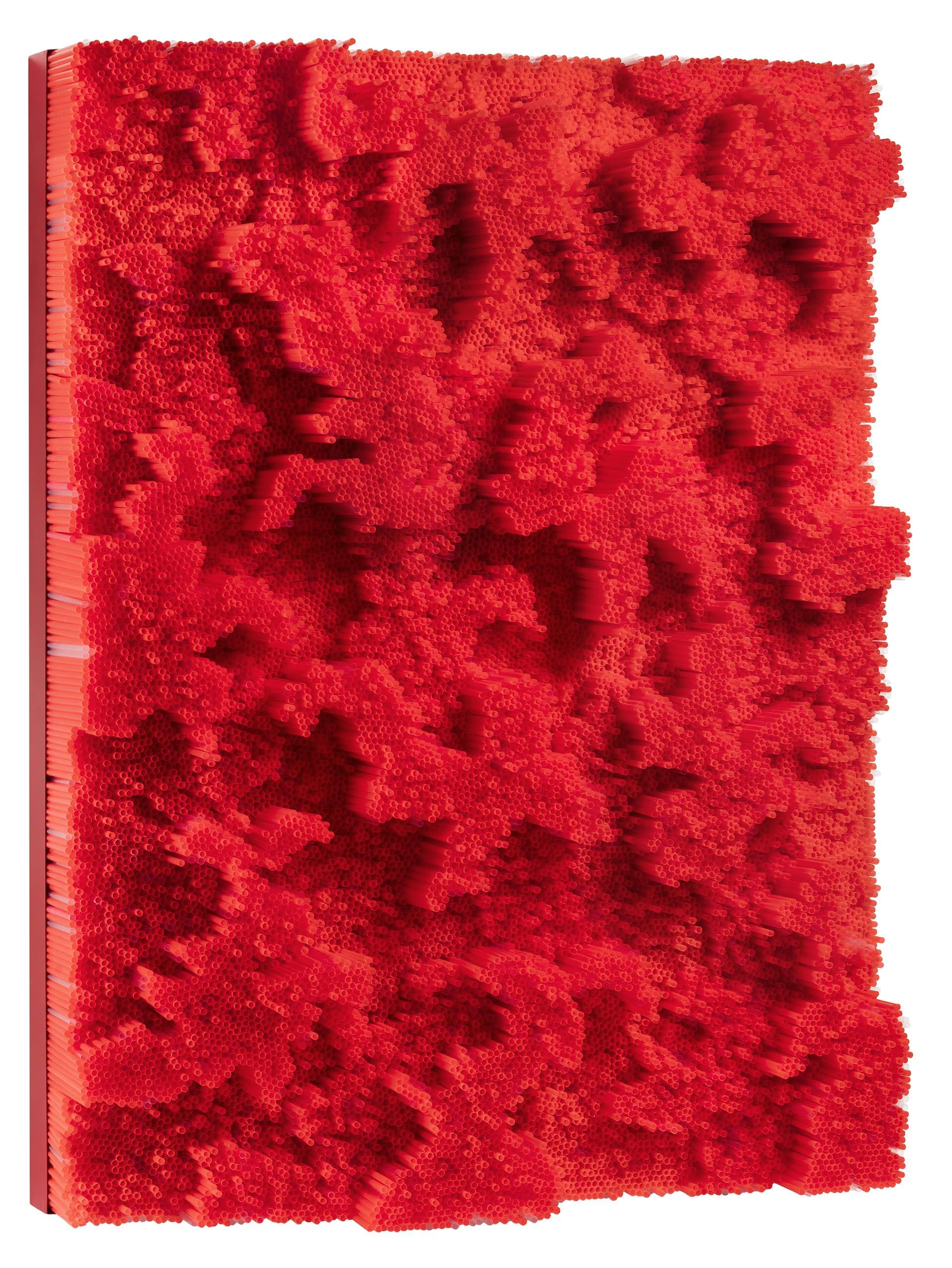 Pasquali, Red straws, 2018, 120x90x25 cm