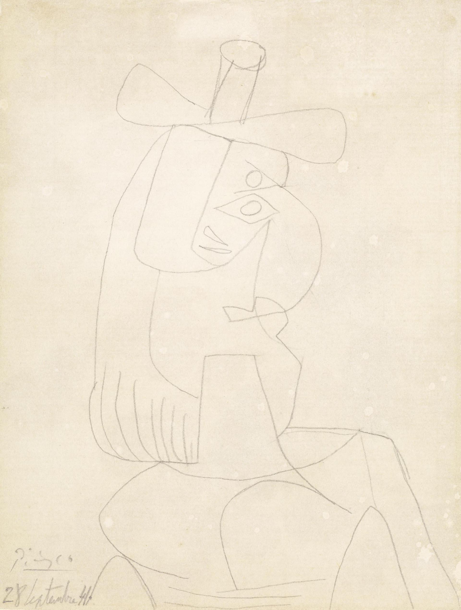 Picasso, Dessin à la mine de plomb, 1941, 27x21 cm