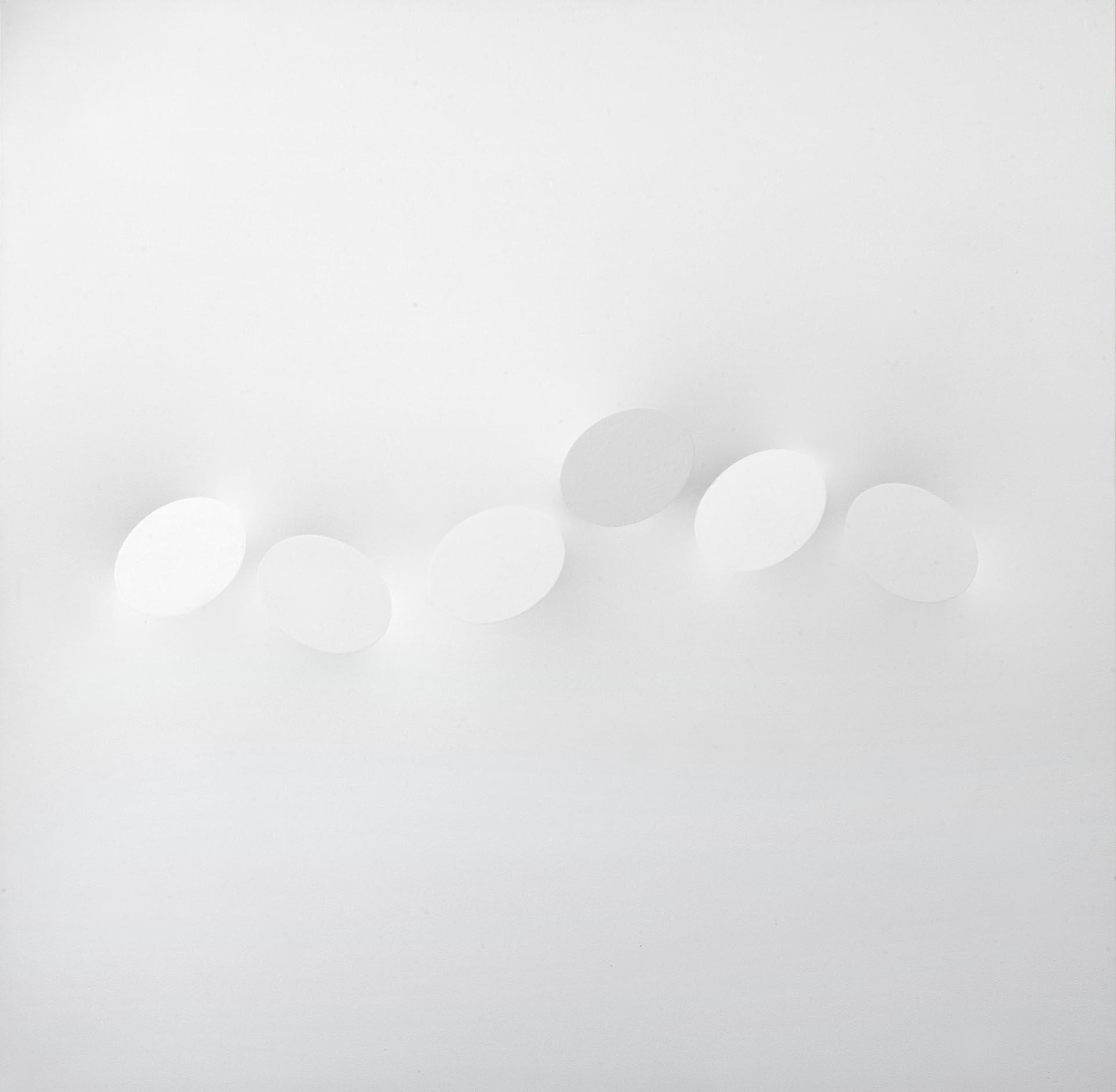 Simeti, Sei ovali bianchi, 2010, 150x150 cm
