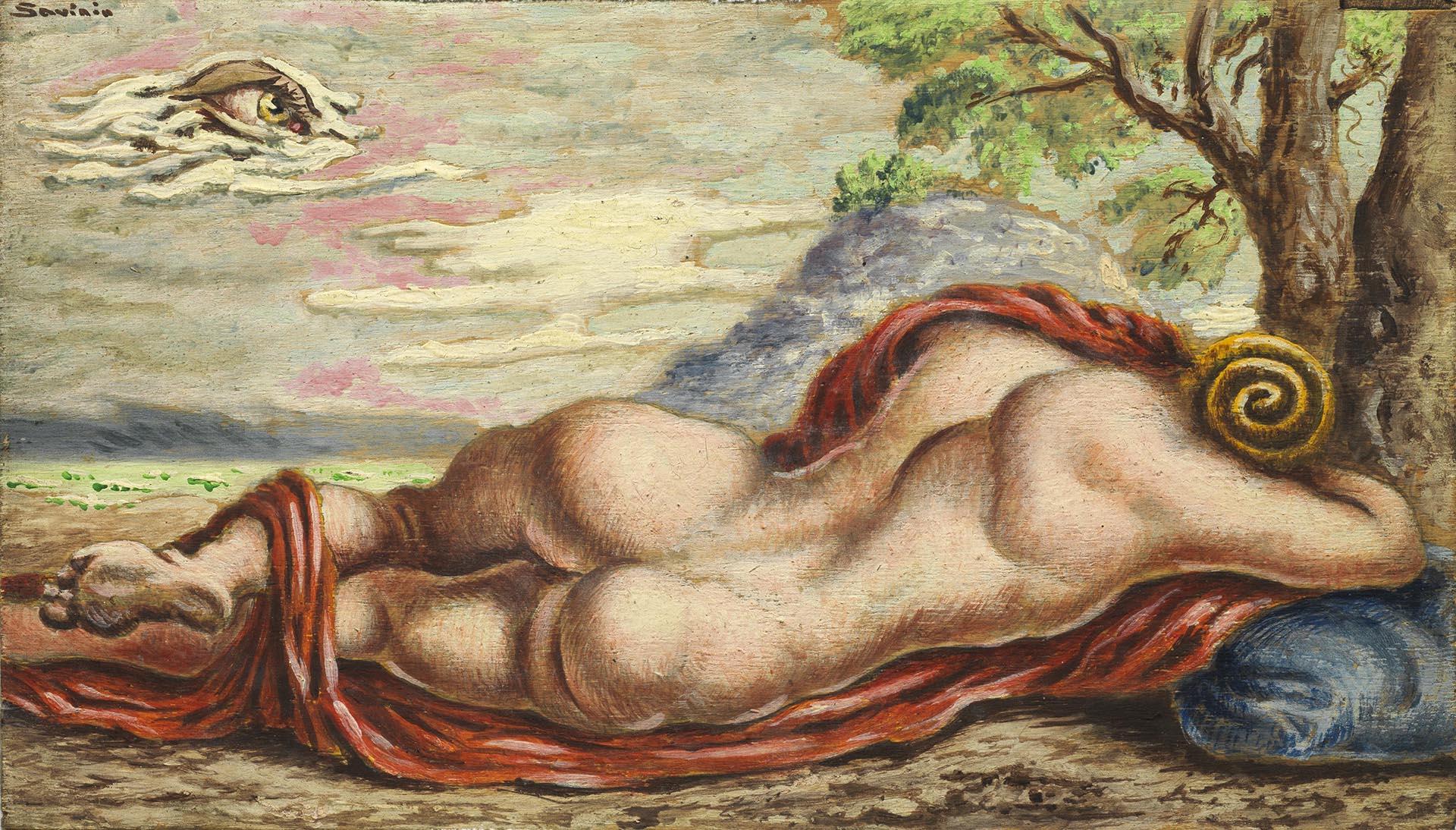 Savinio, Il riposo di Hermaphrodito, 1944-1945, 20x34.5 cm