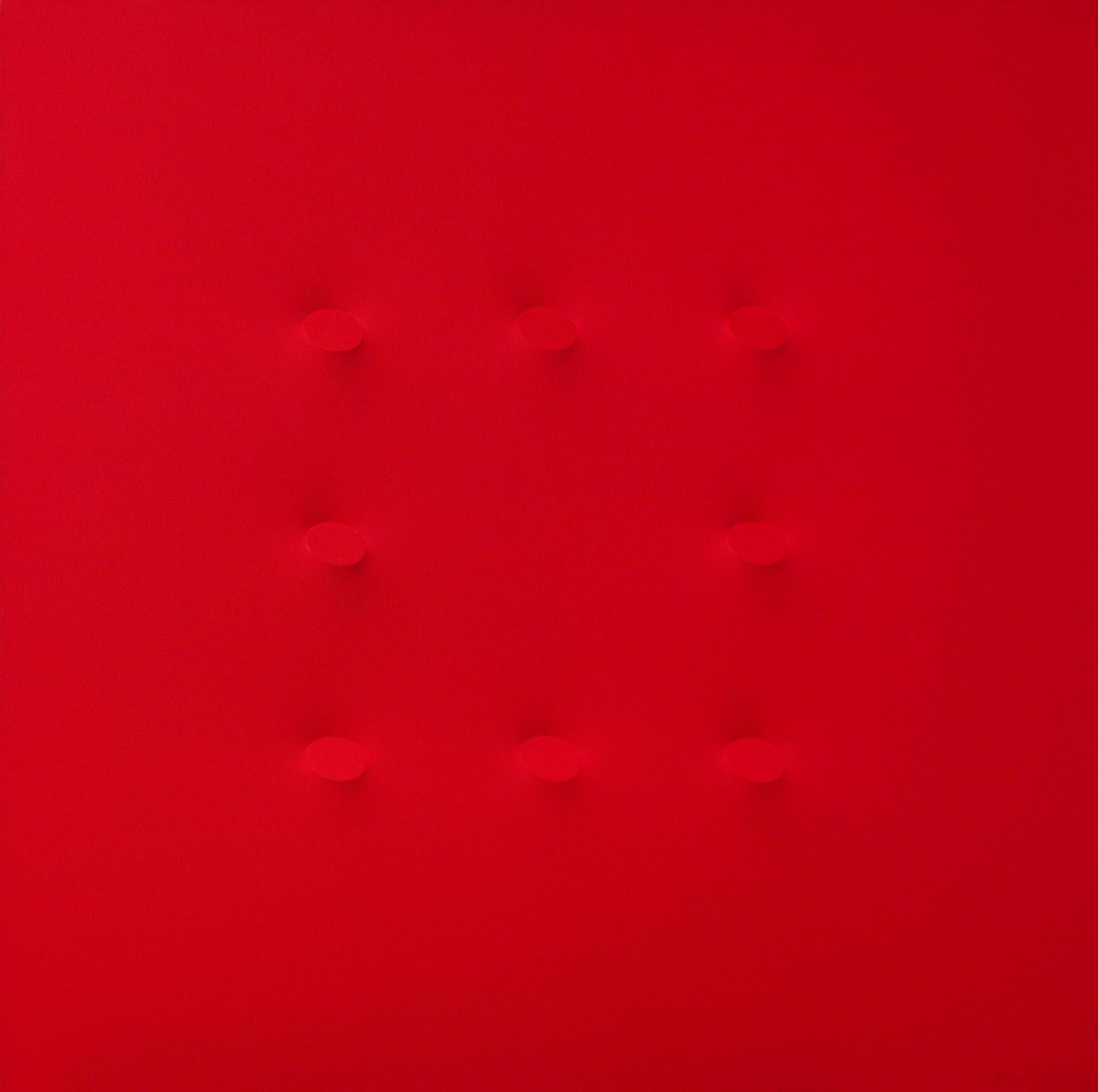 Simeti, 8 ovali rossi, 2015, 125x125 cm