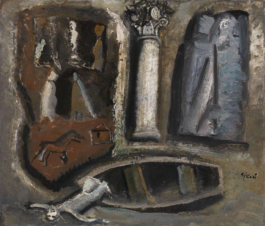 Sironi, Composizione, 1950, 60x70 cm