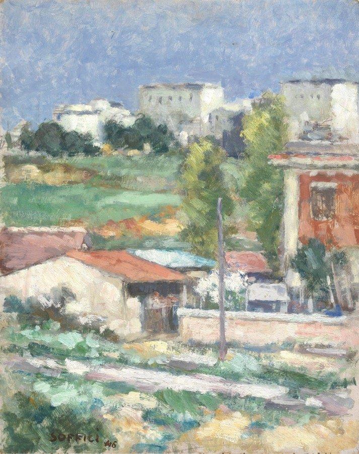 Soffici, Paesaggio fuori Porta S.Paolo, 1946, 52x42 cm