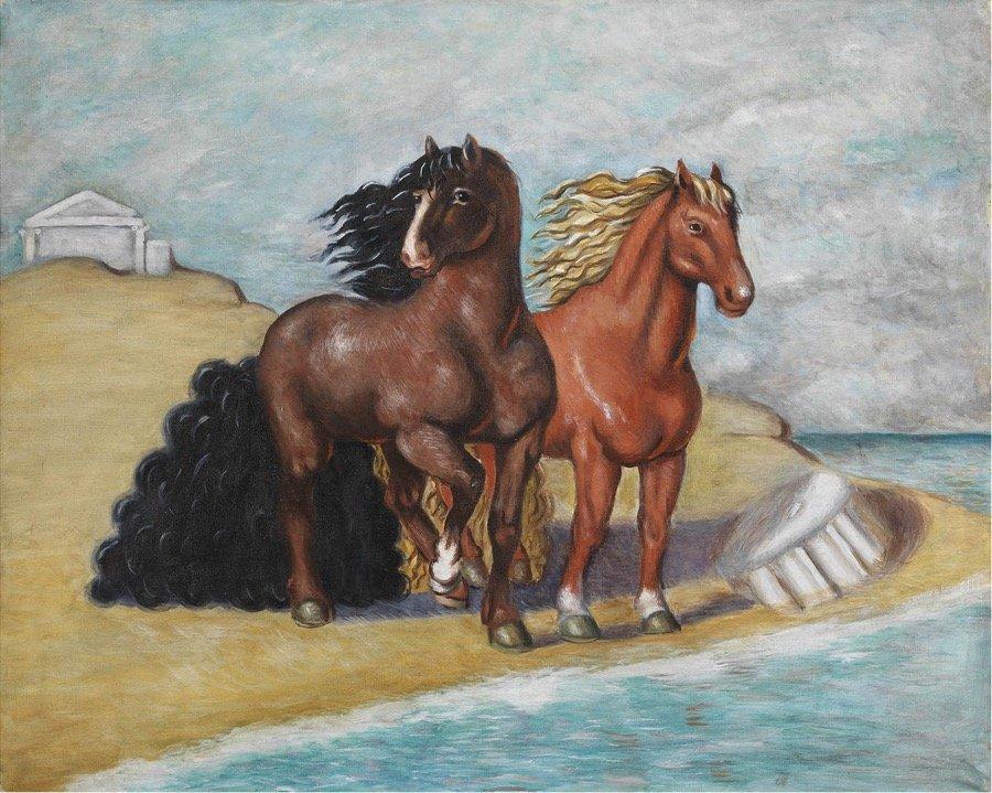 de Chirico, Cavalli in riva al mare, 1934, 66x80,5 cm