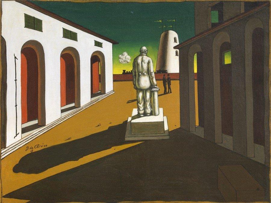 de Chirico, Piazza d'Italia (con monumento ad un uomo politico), 1945 ca., 59x78,5 cm