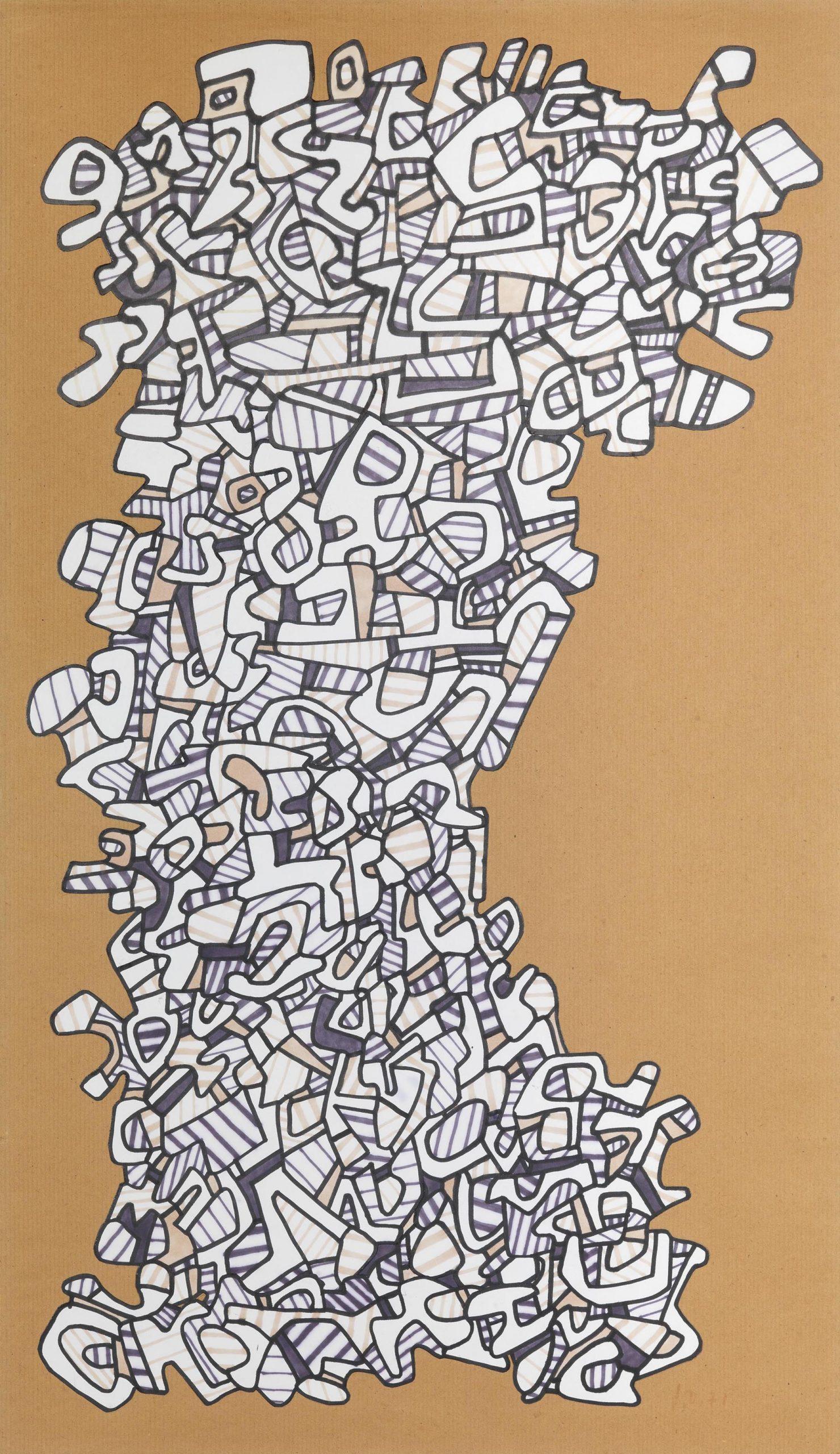 Dubuffet, Arbre logologique, 1971, 74x42.5 cm