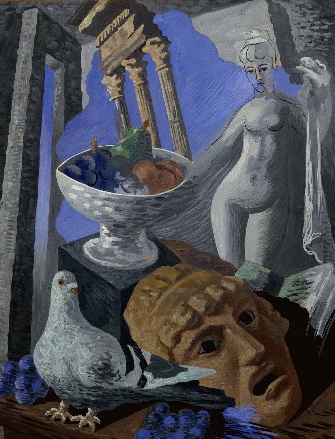 Severini, Natura morta con ruderi, piccione e statua, 1931, 65x50 cm