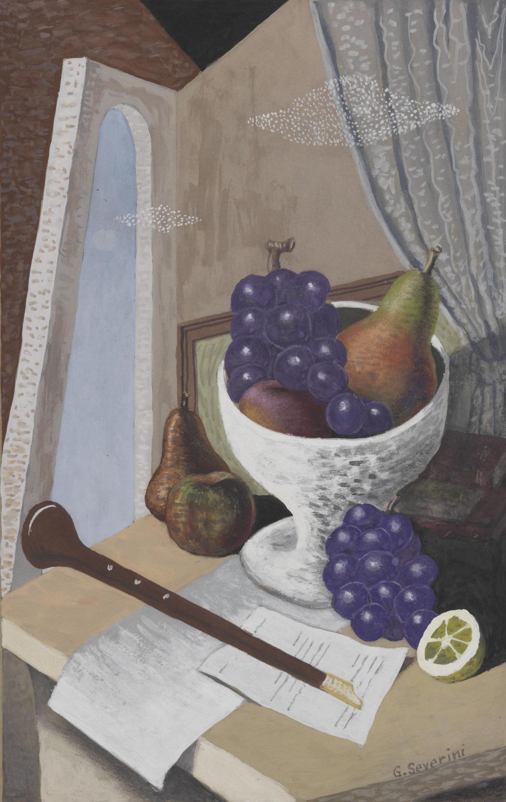 Severini, Natura morta con strumento musicale a fiato e coppa di frutta, 1928-1929, 33x22 cm