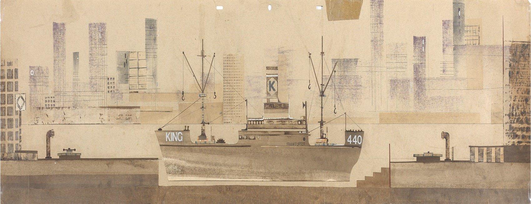 Pascali, Scenografia Porto King 440, 1958, 24x99,5 cm