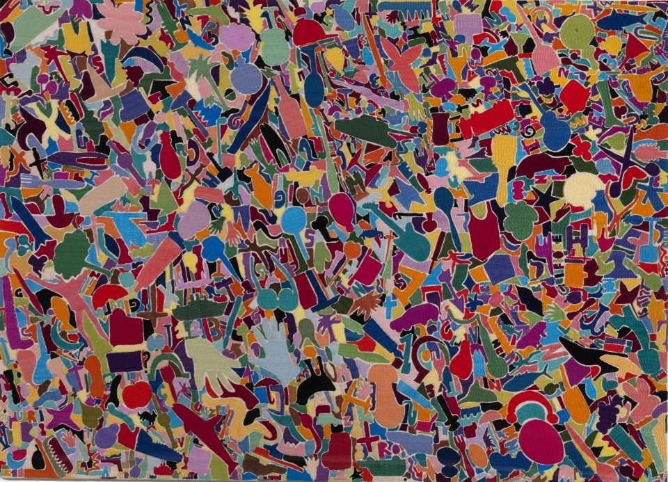 Alighiero Boetti, Tutto, 1988-89, embrodery on cloth, 97x134,5 cm