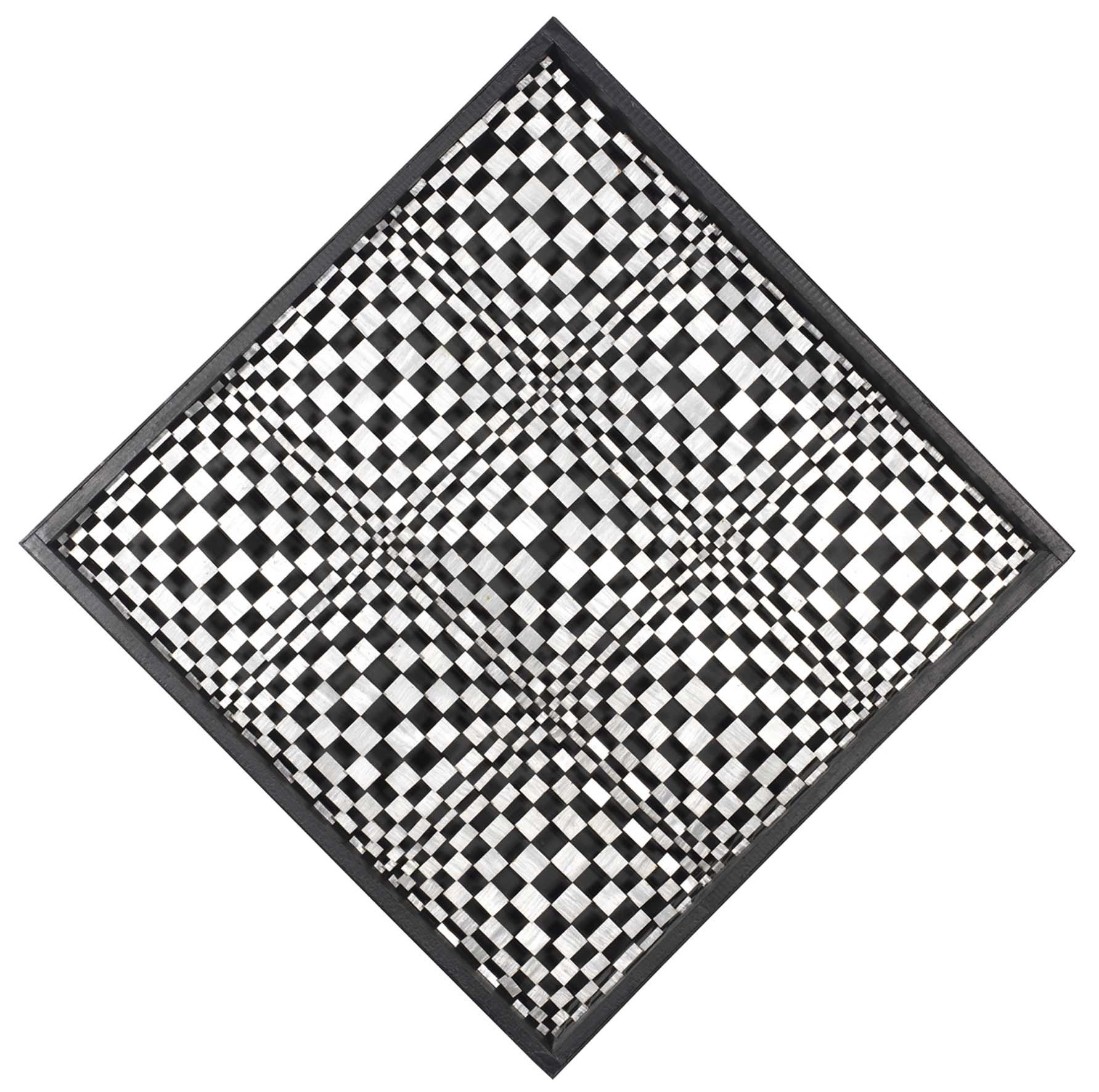 Dadamaino, Oggetto ottico dinamico indeterminato negativo P.3, 1963-64, piastrine di alluminio su struttura in legno, 133x133 cm
