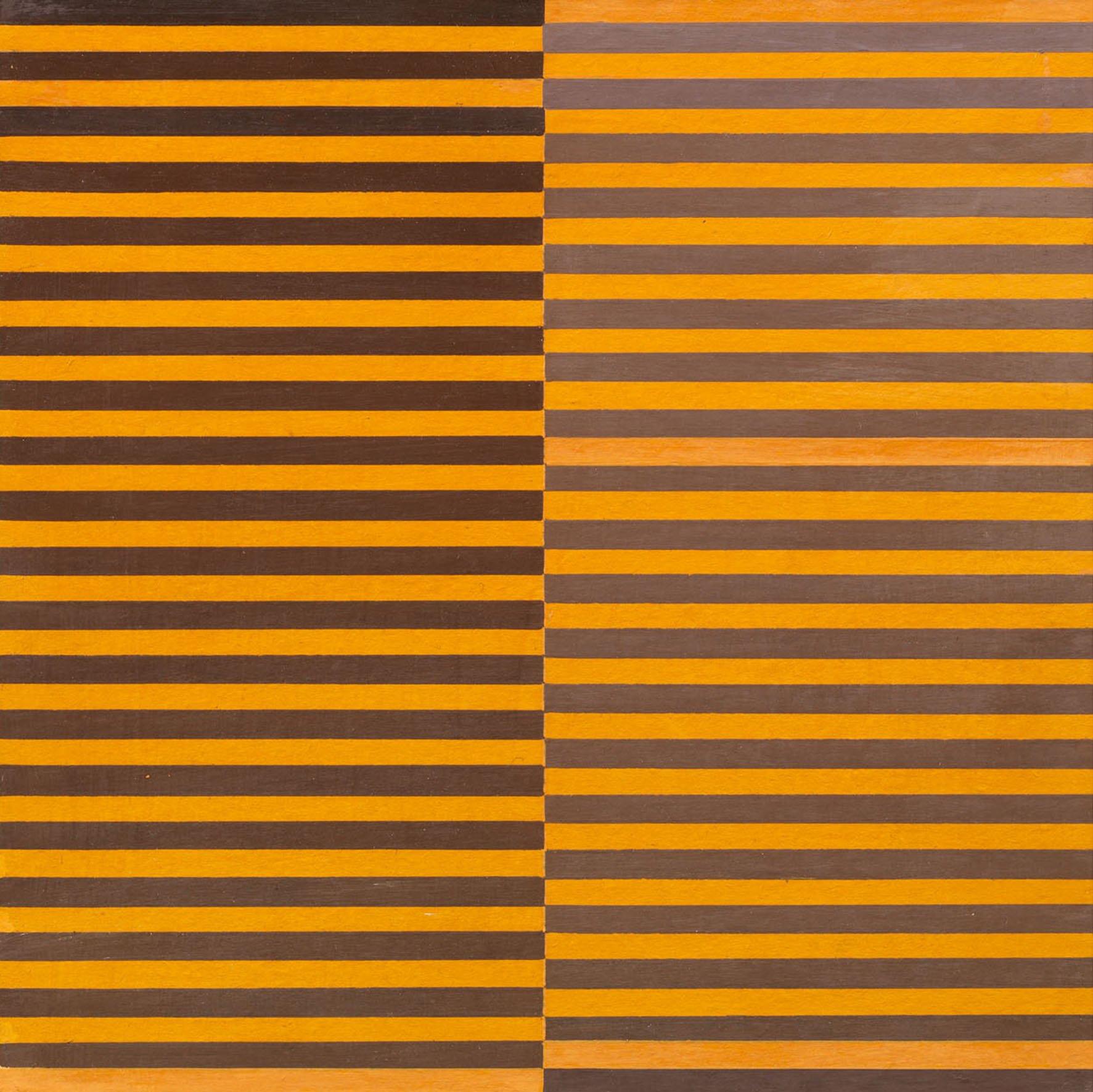 Dadamaino, Ricerca del colore. Marrone su arancio, 1966-68, tempera su carta riportata su masonite, 20x20 cm