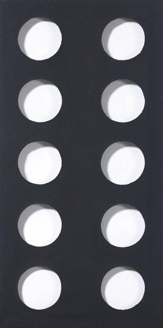 Dadamaino, Volume, 1960, peinture à l'eau sur toile, noir, 80x40 cm