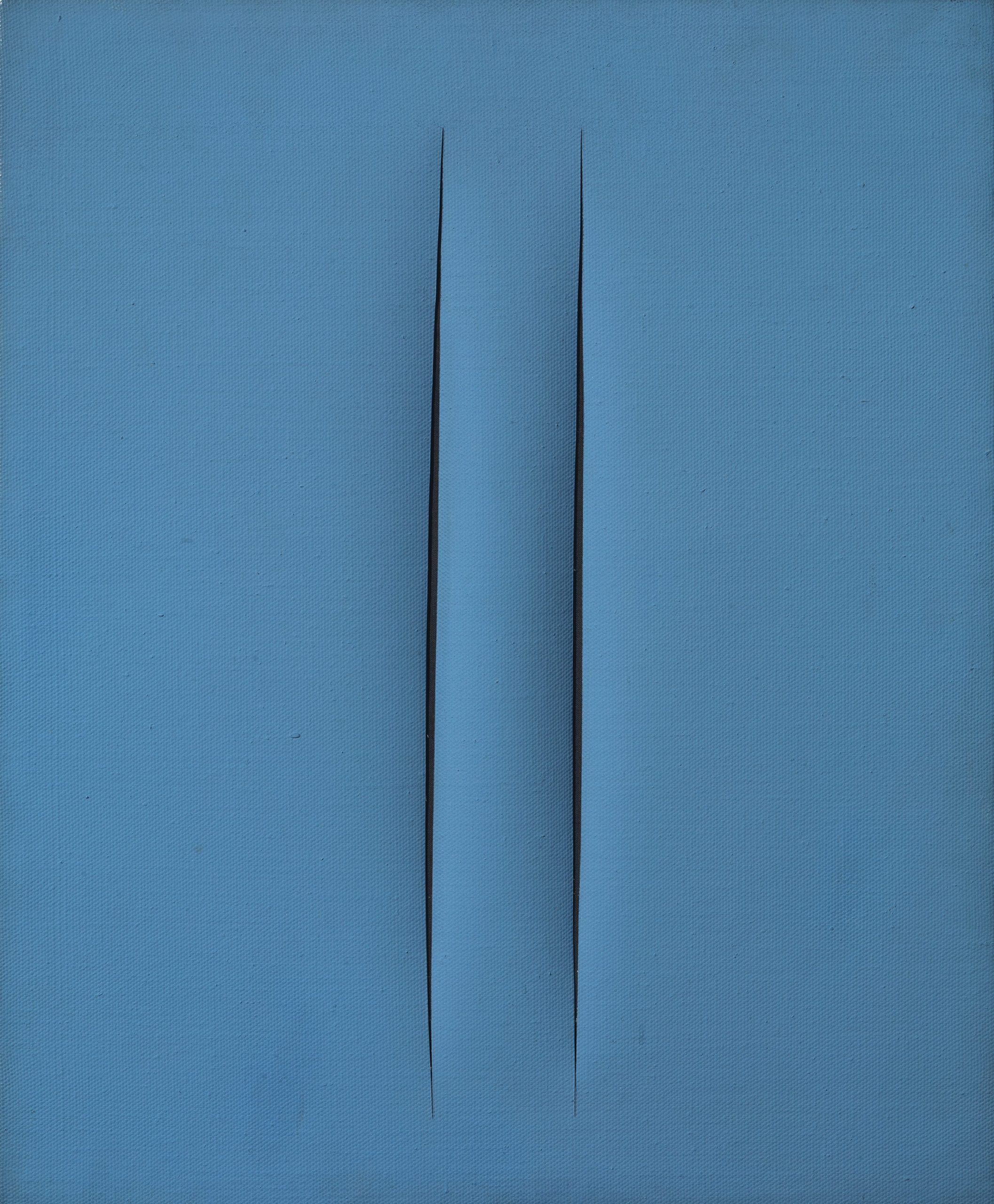 Lucio Fontana, Concetto spaziale, Attese, 1966, water-based paint on canvas, blu, 61x50 cm