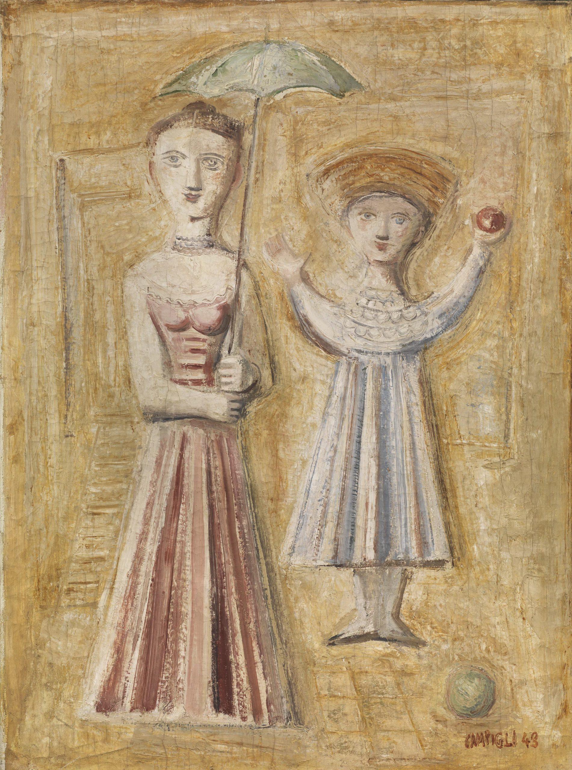 Massimo Campigli, Gioco a palla, 1943, olio su tela, 76x56 cm