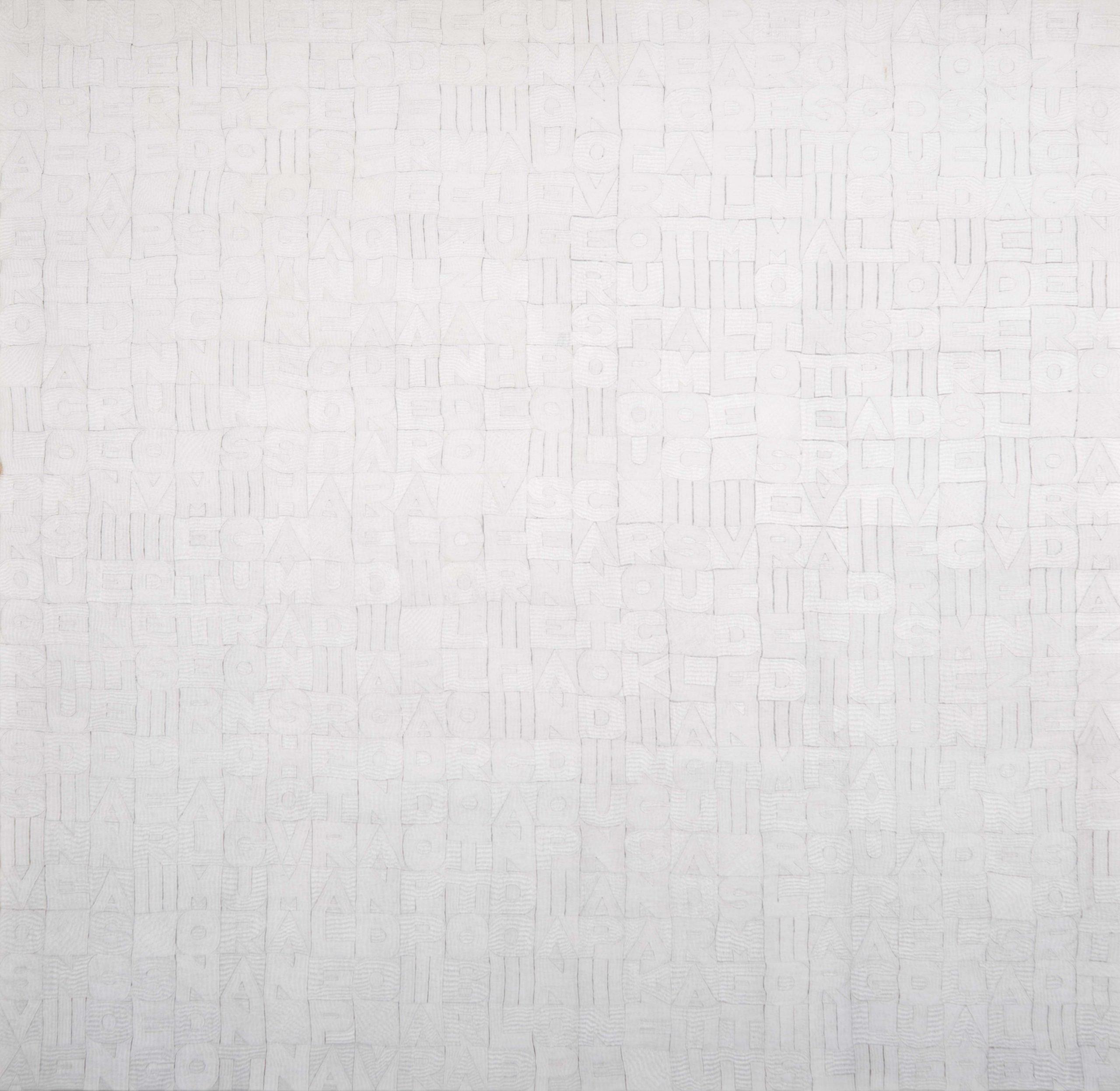 Alighiero Boetti, Titoli, 1978, ricamo su tessuto, 172x178 cm