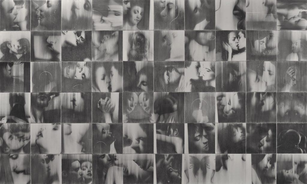 Omar Galliani, Baci rubati / Covid 19, 2020-2021, cm 300x500