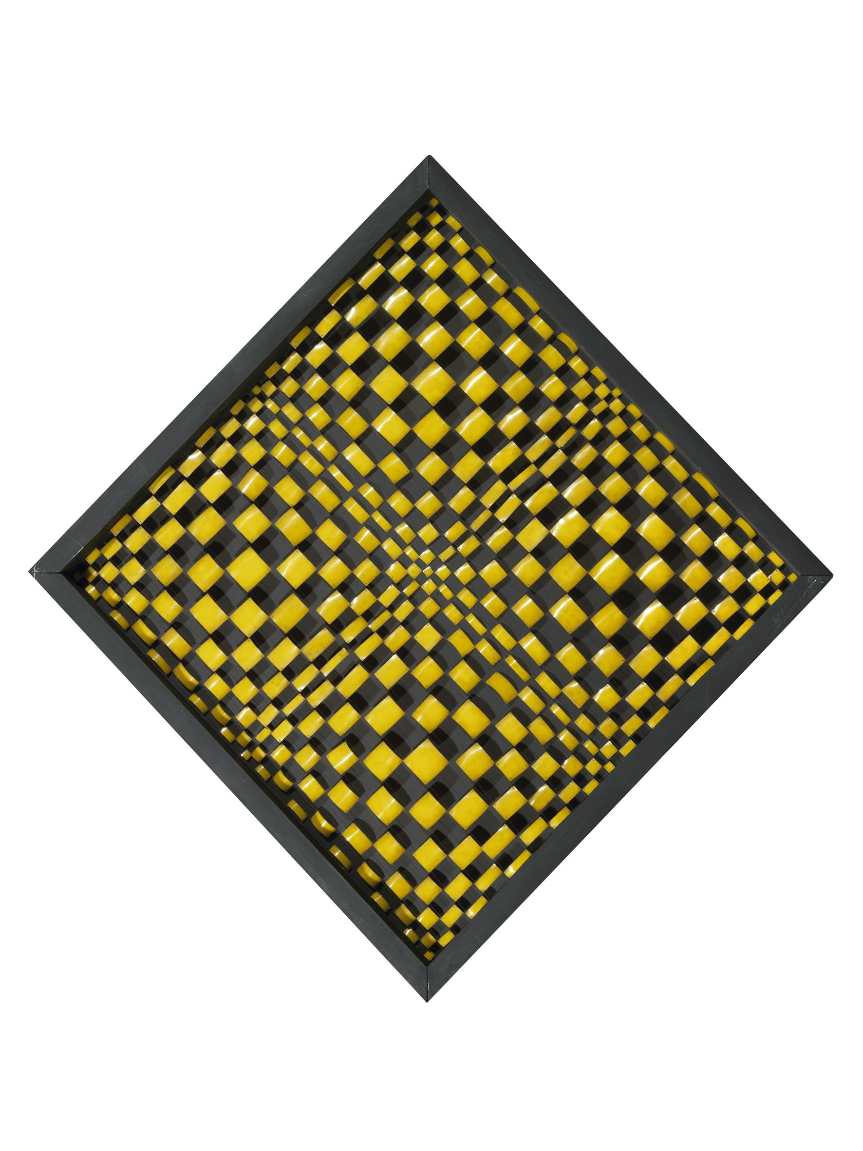 Dadamaino, Oggetto ottico-dinamico, 1960-1961, milled aluminium plates on nylon threads on wooden structure, 37,79 x 37,79 inch