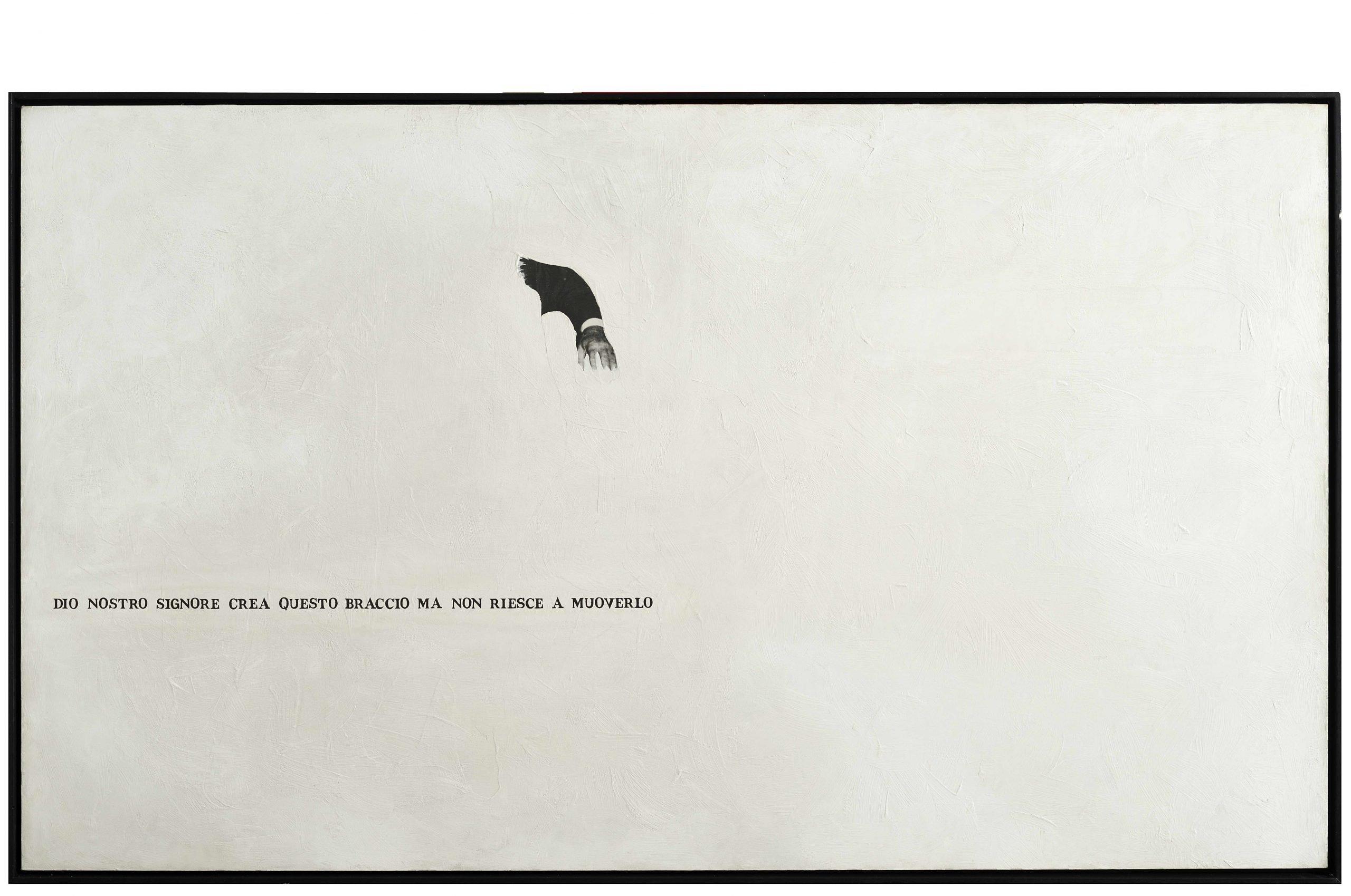Emilio Isgrò, Il braccio, 1985, technique mixte sur toile sur bois, 118x200 cm