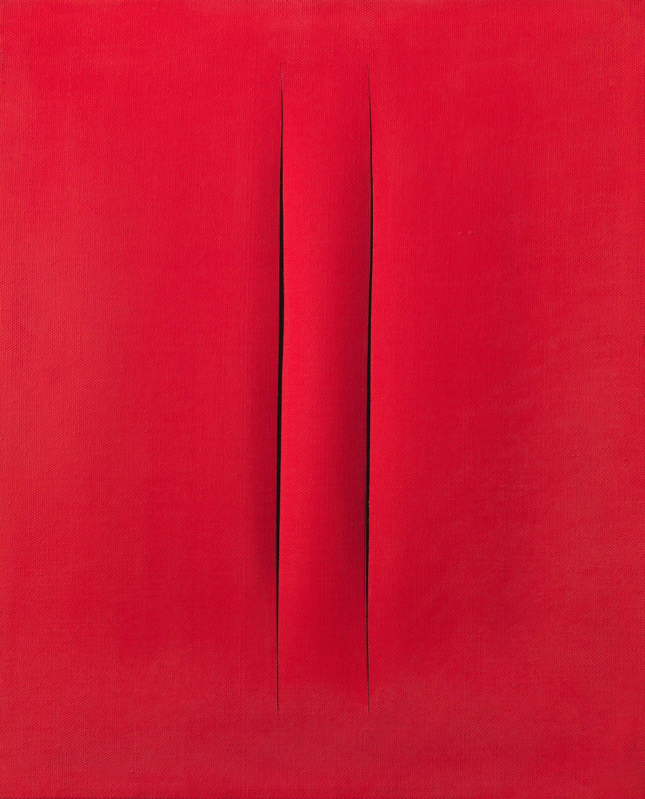 Lucio Fontana, Concetto spaziale, Attese, 1967, hydro peinture sur toile, 61x50 cm
