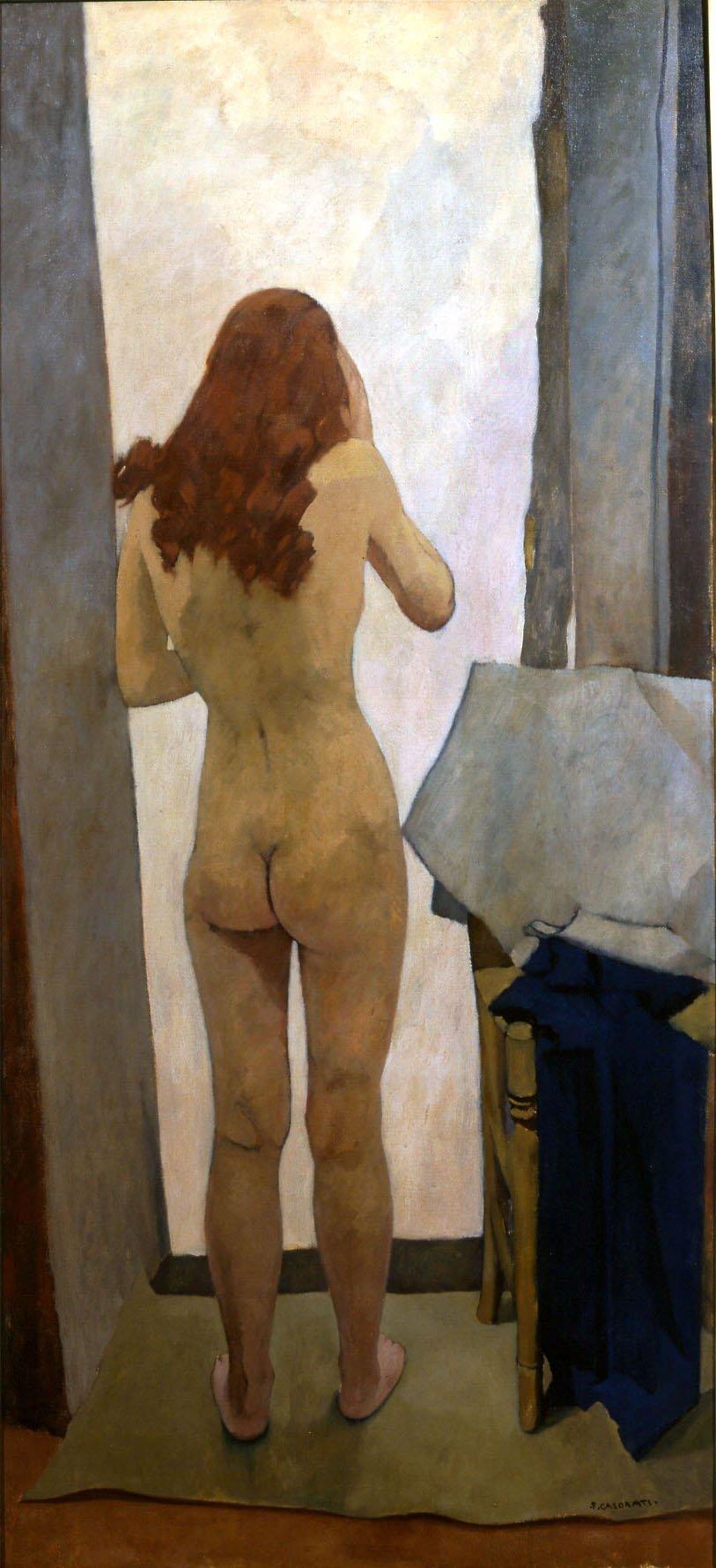 Felice Casorati, Nudo di schiena, 1939, olio su tela, cm 160x74