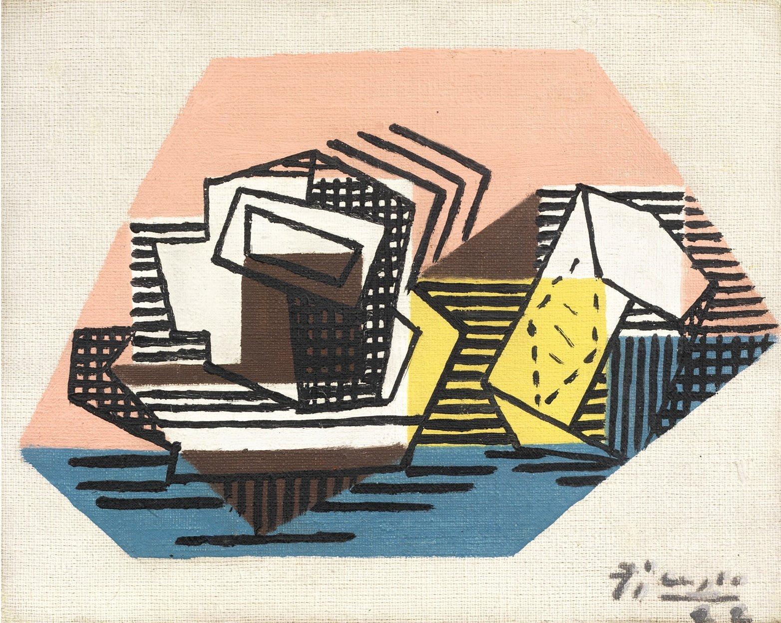 Pablo Picasso, Tasse et paquet de tabac, 1922, olio su tela, cm 19x24