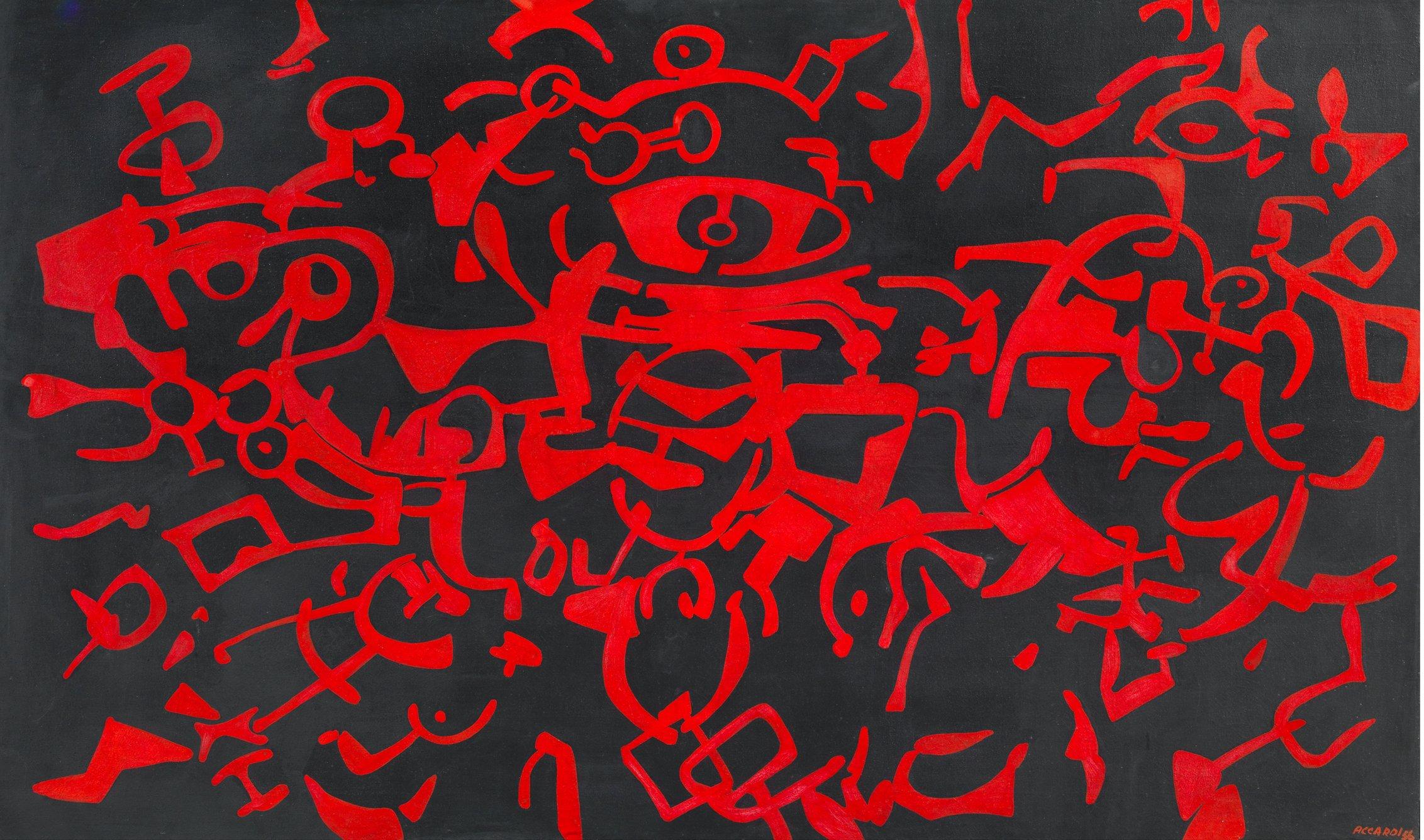 Carla Accardi, Assedio rosso n°3, 1956, 97 x 162 cm