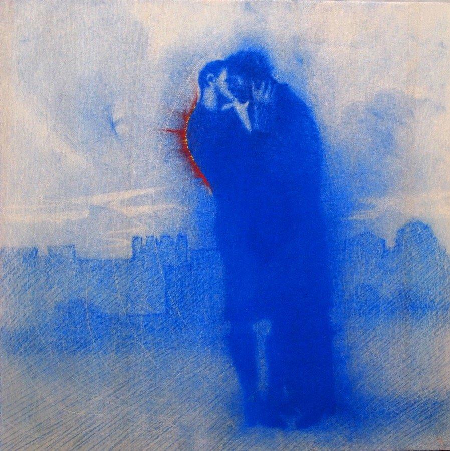 Omar Galliani, Baci rubati, 2020, pastel on board, 19,68x19,68 inch