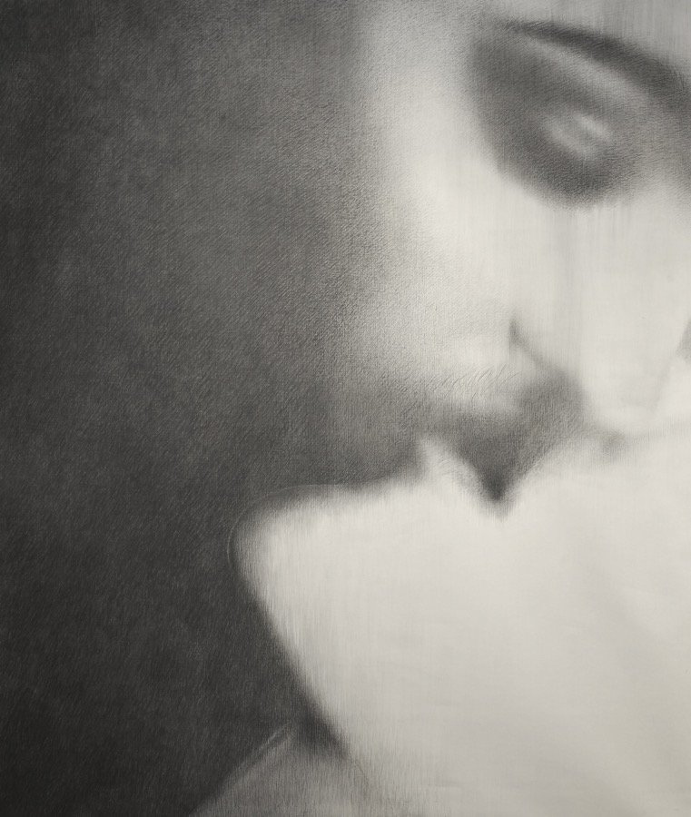 Omar Galliani, Baci rubati / Covid 19 #06, 2020, charcoal and graphite on canvas, 78,74x66,92 inch
