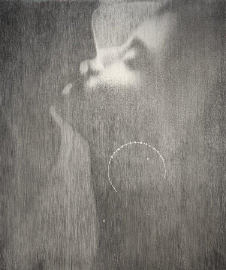 Omar Galliani, Baci rubati / Covid 19 #07, 2020, charcoal and graphite on canvas, 78,74x66,92 inch