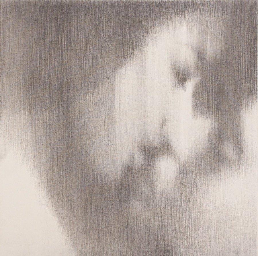 Omar Galliani, Baci rubati / Covid 19 #11, 2021, charcoal and graphite on canvas, 23,62x23,62 inch